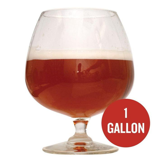 "Bomber Barleywine homebrew in a glass with ""1 Gallon"" written within a red circle"