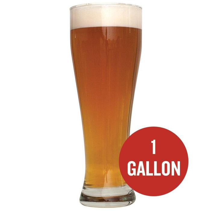 "Bavarian Hefeweizen in a tall drinking glass with a red circle that contains ""1 Gallon"" in text"