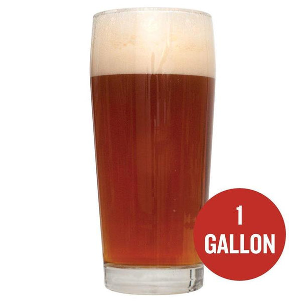 "Brickwarmer Holiday Red Ale homebrew in a glass with a red circle containing the text ""1-gallon"" written in the bottom right"