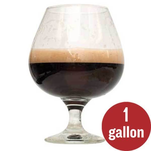 "Bourbon Barrel Porter in a glass with ""1 gallon"" written in a red circle"