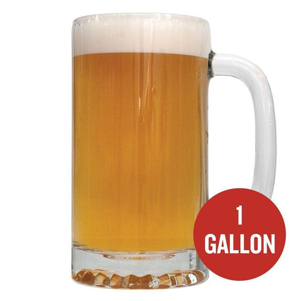 "The Innkeeper Ale in a tall mug with ""1-gallon"" written within a red circle"