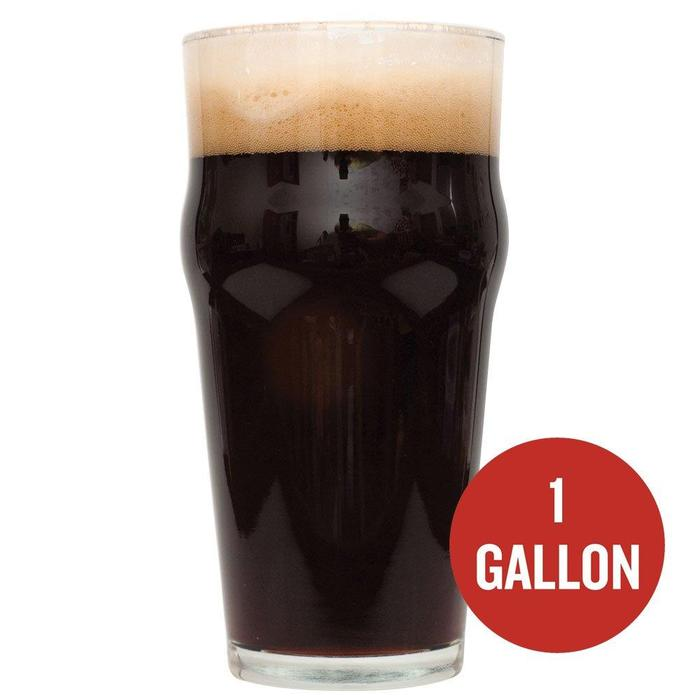 "Dry Irish Stout in a drinking glass with a red circle containing the text: ""1 gallon"""