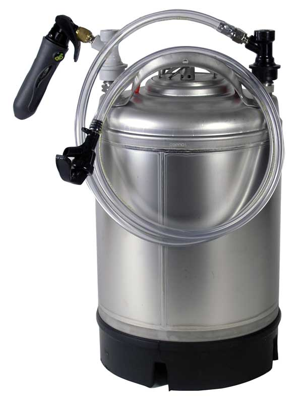 The 2.5 Gallon Mini Draft System with tubing attached