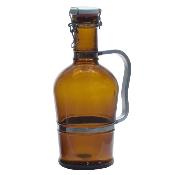 2-liter amber growler with a metal handle