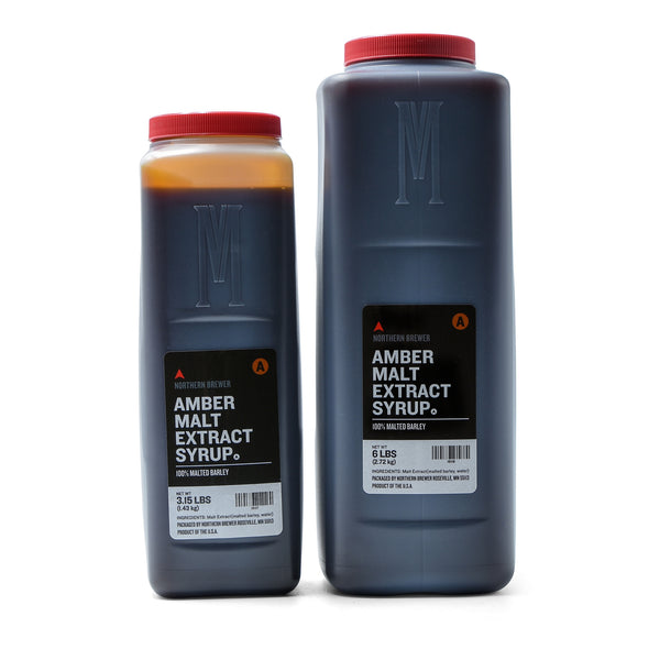 3.15- and 6-pound Amber Malt Extract Syrup containers
