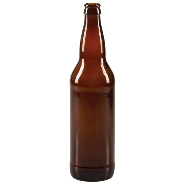 An amber glass 22 ounce beer bottle