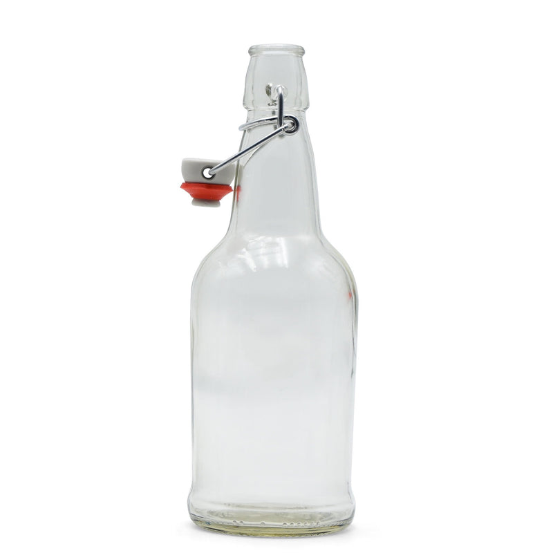 Clear Glass EZ Cap Bottle with an attached swing top