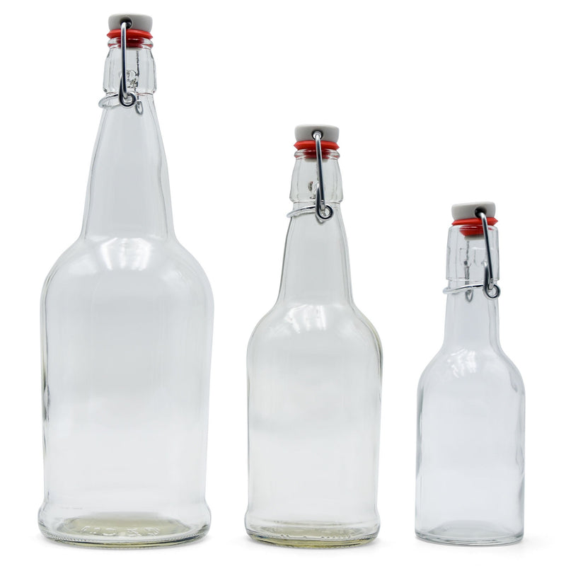 8-ounce, 16-ounce, and 32-ounce EZ cap bottles side by side closed