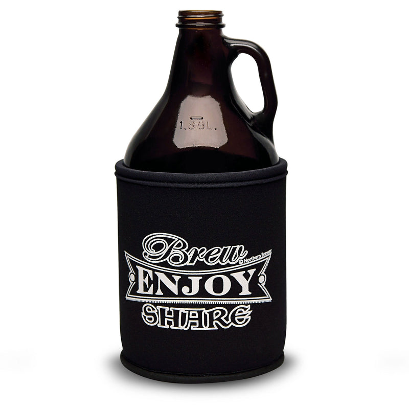 The Brew Share Enjoy growler koozie on a growler