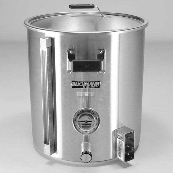 10-gallon Blichmann 120V Electric Boilermaker with a Fahrenheit thermomenter
