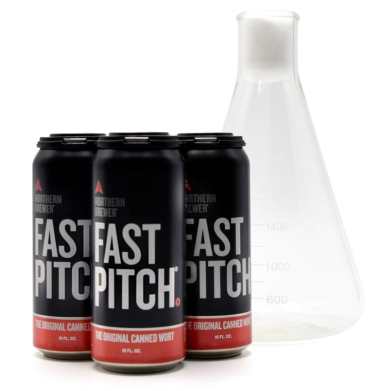2-liter Erlenmeyer flask beside a 4-pack of Fast Pitch