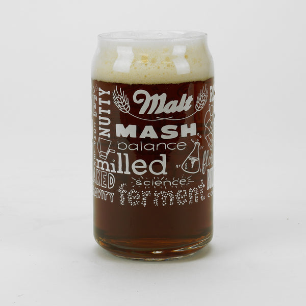 The midwest beer kit can glass with homebrew