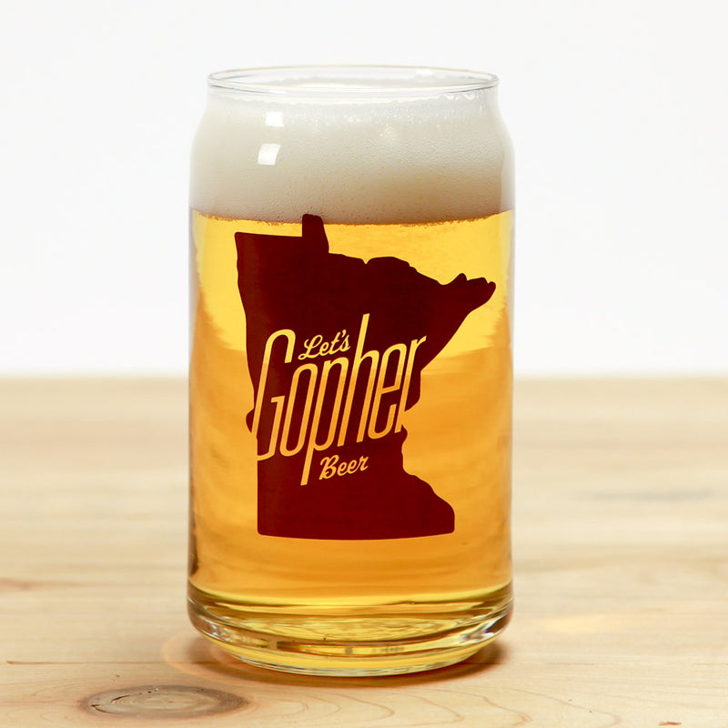 """Let's Gopher Beer"" Can Glass"