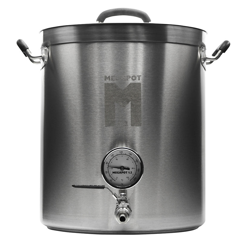 15 Gallon MegaPot 1.2 Brew Kettle with integrated thermometer and ball valve spigot