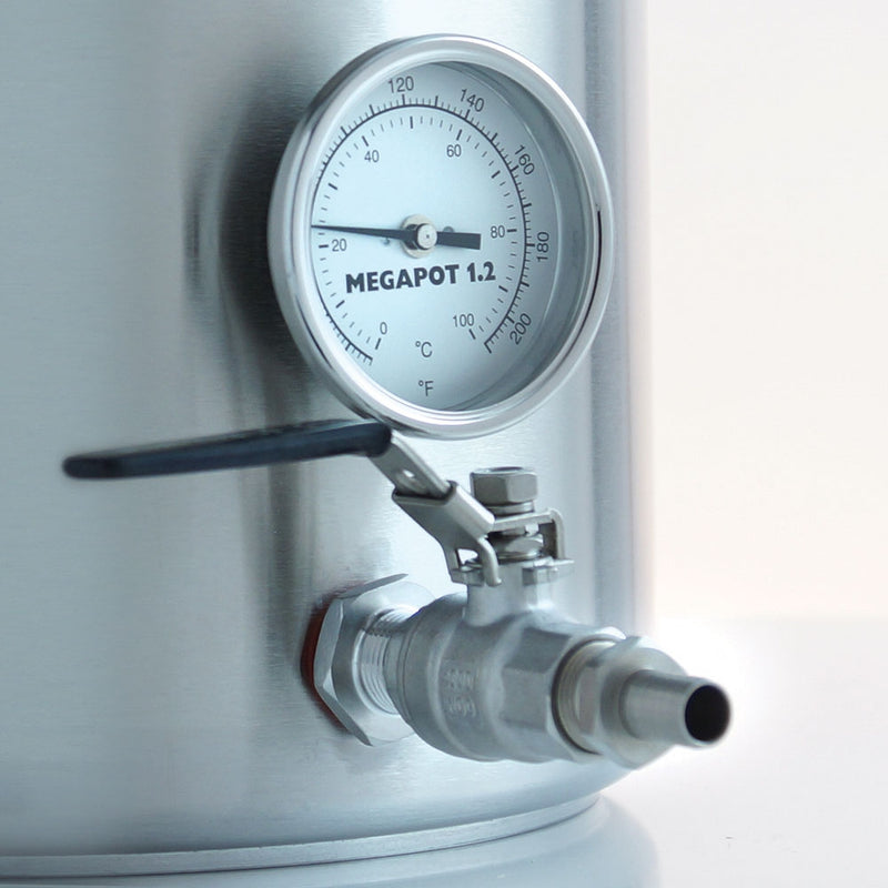 Close-up view of 20 Gallon Brew Kettle's ball valve spigot and thermometer