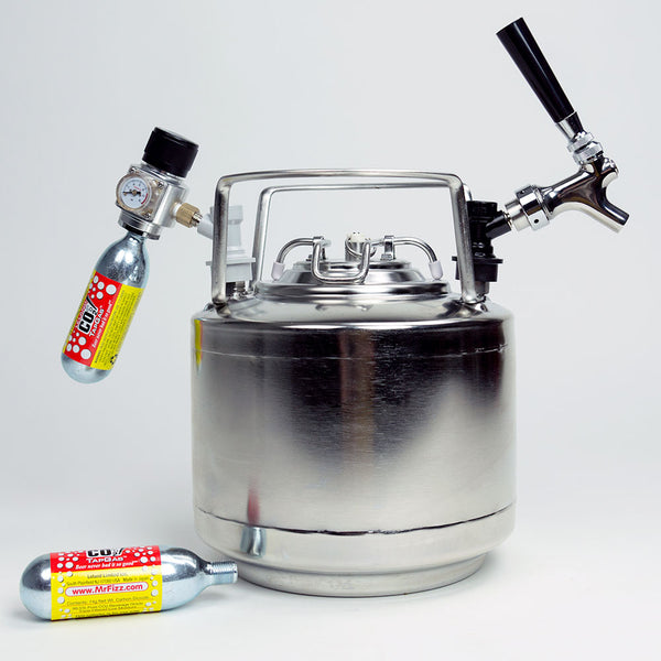 Draft Brewer Cannonball Keg System with Mini Regulator attached and CO2 canisters installed