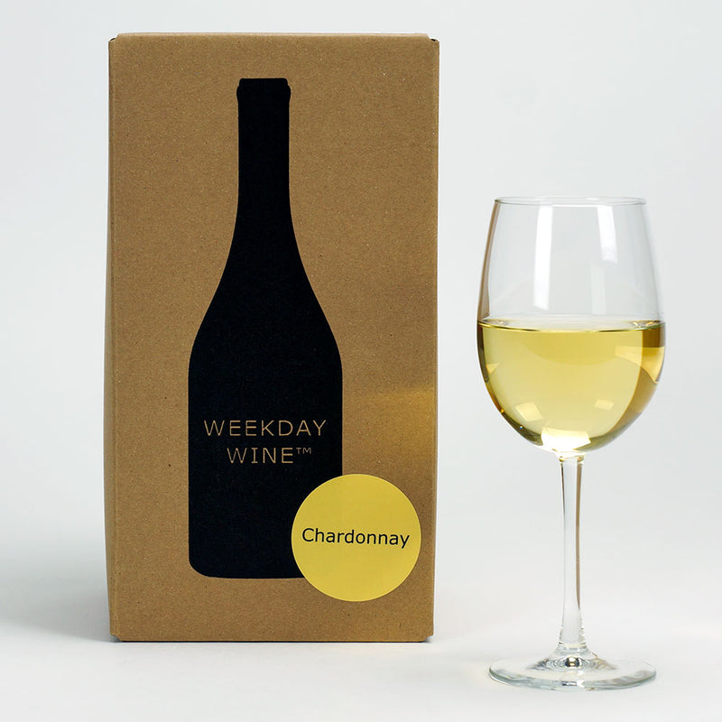 The Chardonnay recipe kit box alongside a wine glass