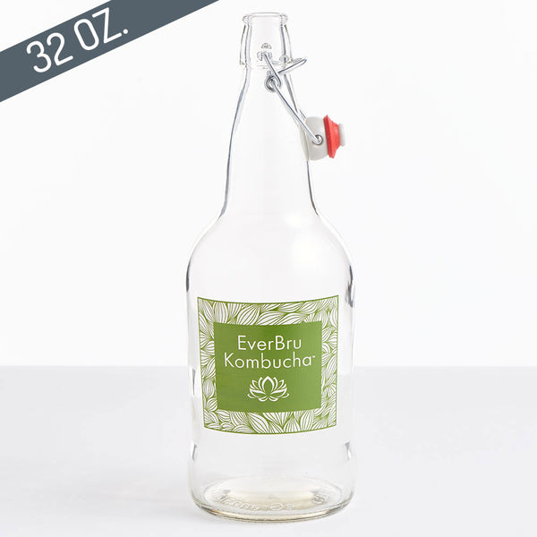 EZ Cap Swing Top Kombucha Bottles - 32 oz. Clear, case of 12