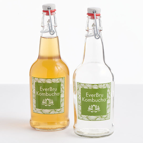 EZ Cap Swing Top Kombucha Bottles - 16 oz. Clear, case of 12