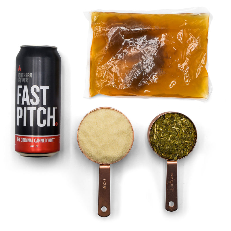 SCOBY in its packaging, Fast Pitch wort can, Yerba Mate tea blend, and Maltofusion
