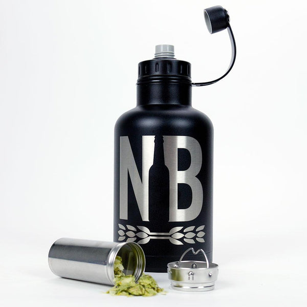 The Northern Brewer 64-ounce Black Insulated SS Growler with Infuser filled with hops
