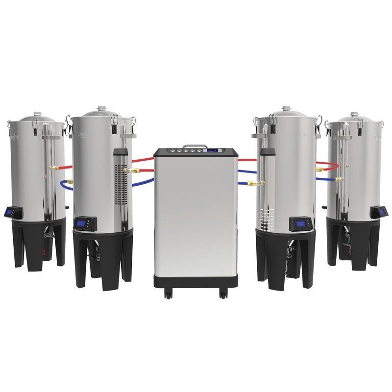 The Grainfather Glycol Chiller with Cooler Connection attached to four grainfathers