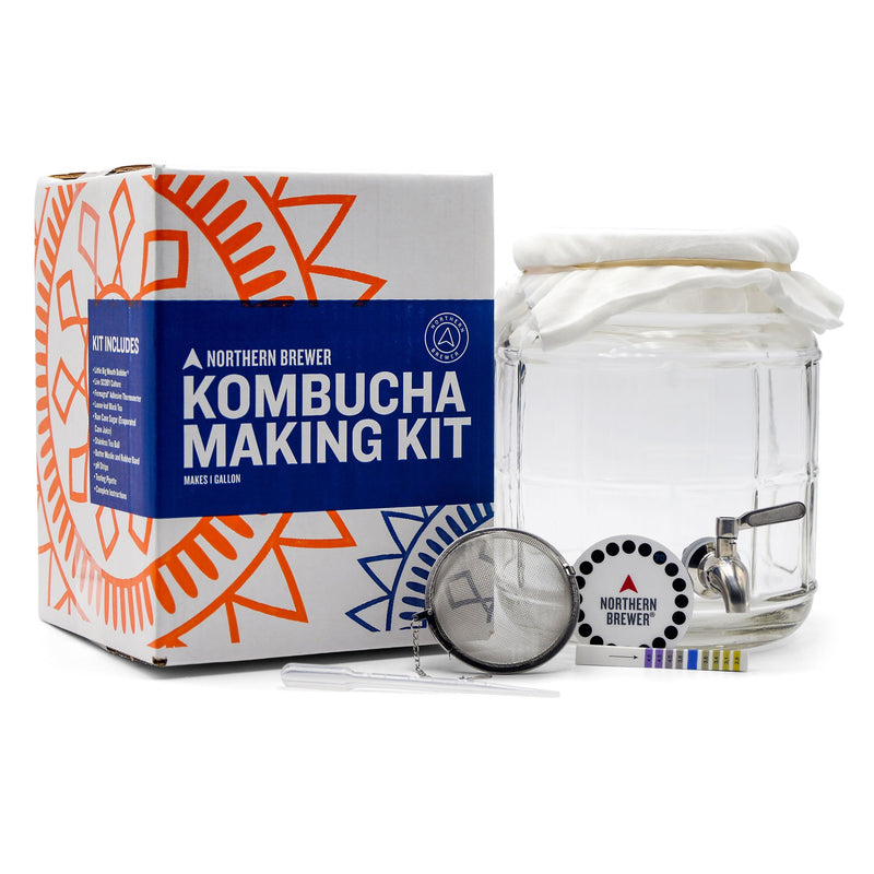 Kombucha Brewing Starter Kit with SCOBY - 1 Gallon
