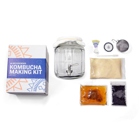 Kombucha Brewing Starter Kit's contents on display