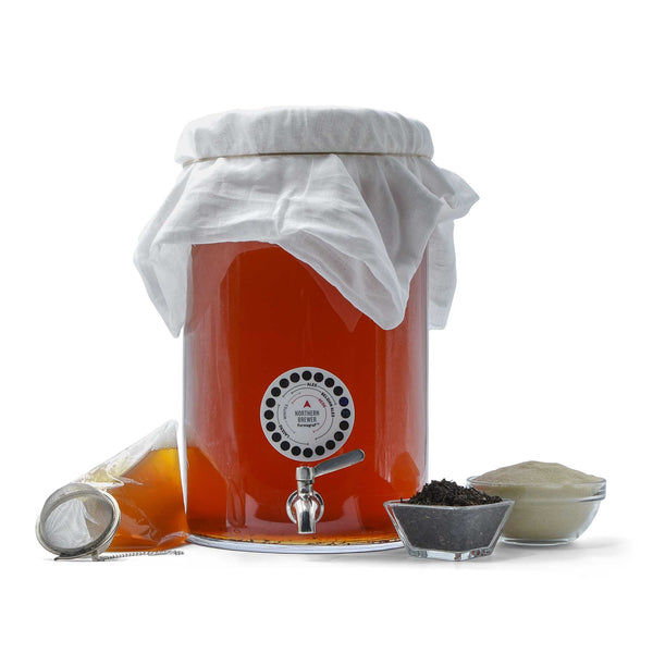 The three-gallon Continuous Brew Kombucha Starter Kit with its contents on display