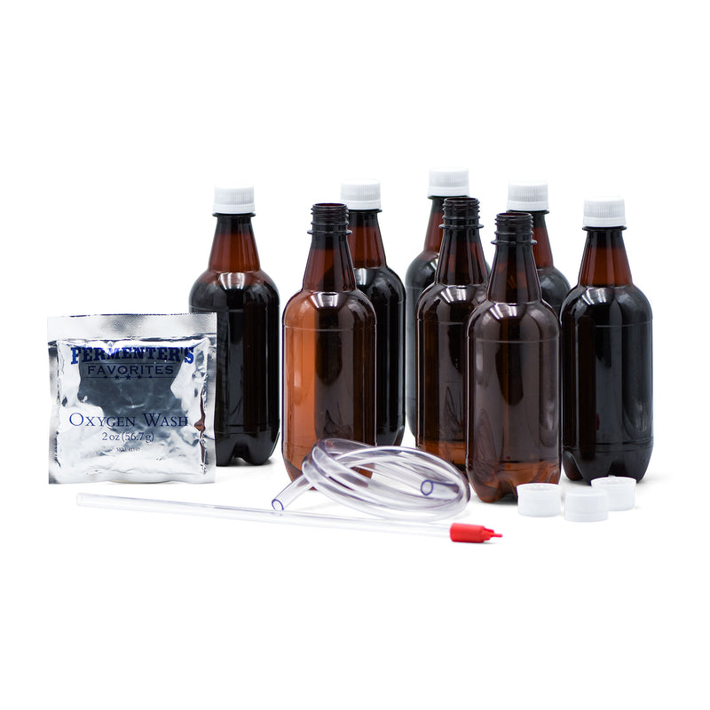 Simply Beer 1 Gallon Beer Bottling Kit's contents on display