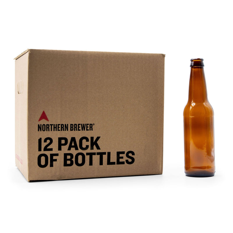 12 Pack of Bottles in a box, with an amber glass bottle standing on display