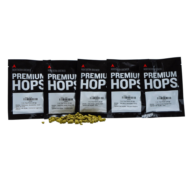 Mighty Axe Hops™ Sampler Pack behind a pile of hop pellets