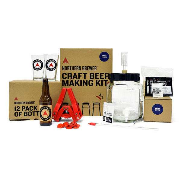 The contents of the Complete Craft Beer Making Kit