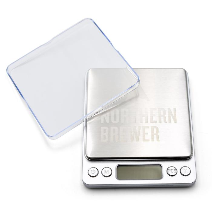 Northern Brewer brewing scale turned off with cover plate to the side.