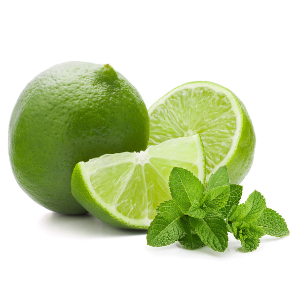 Cut limes and mint leaves