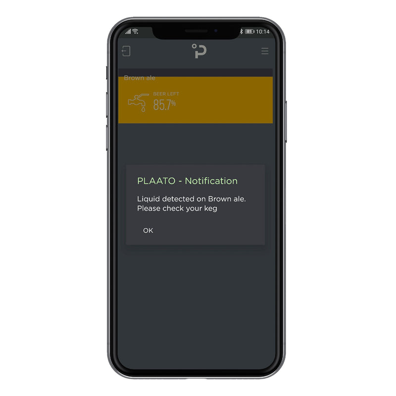 Phone with PLAATO app displaying a Liquid Dected Notification