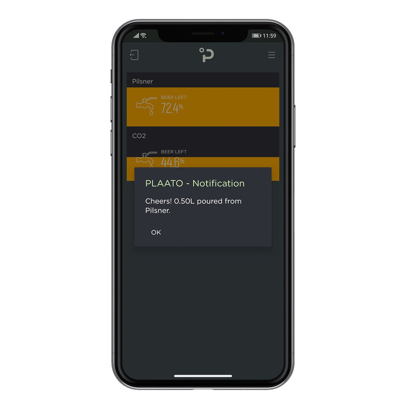 Phone displaying PLAATO app with a pour notification