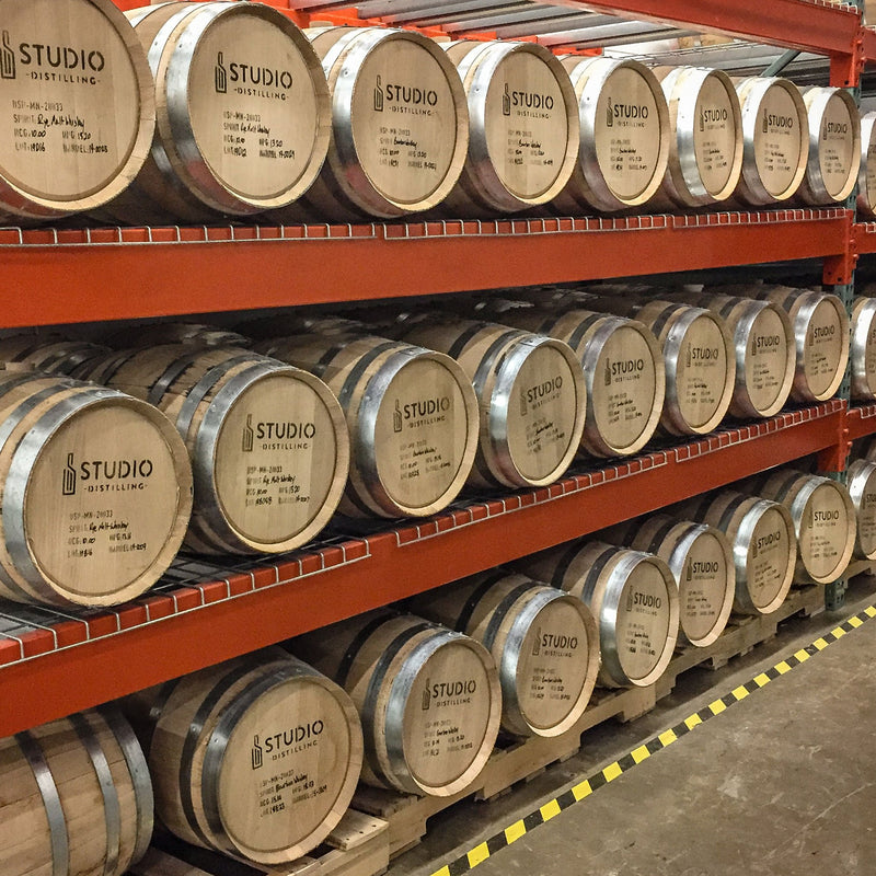 Studio Barrel aging on racks