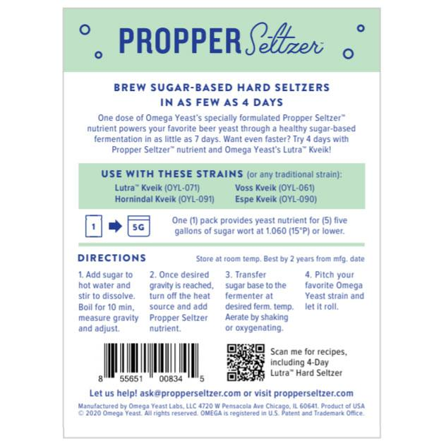 Propper Seltzer™ Yeast Nutrient Back of the package