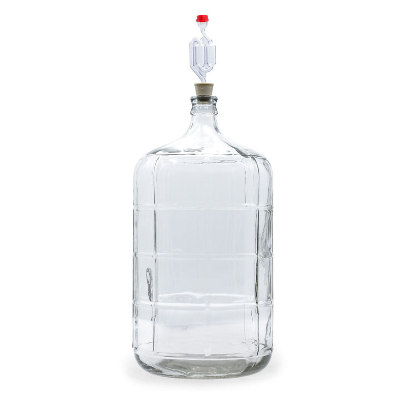 6 Gallon glass carboy with stopper and airlock