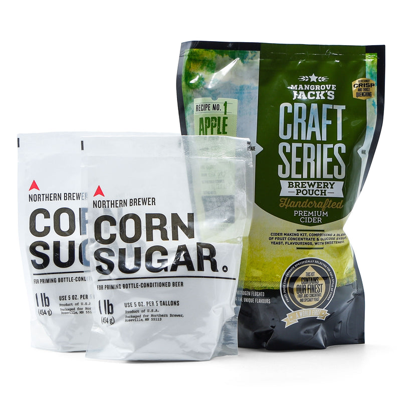 Hard cider recipe pouch and two bags of corn sugar