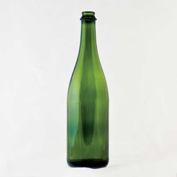 750 ml green champagne bottle
