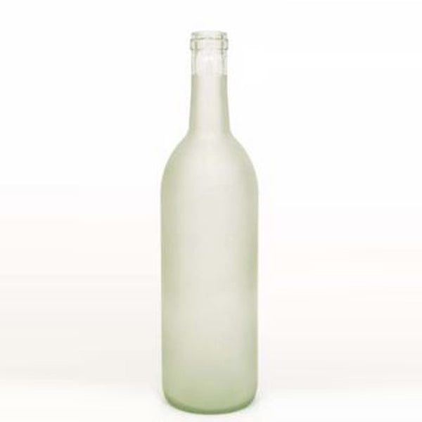 750 ml Clear Frosted Glass Bordeaux Wine Bottles, 12 ct