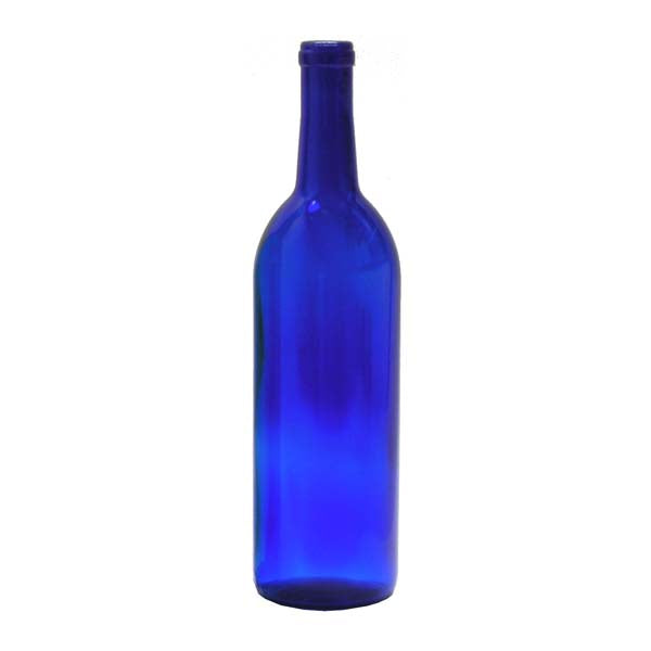 750 ml Cobalt Blue Glass Claret/Bordeaux Wine Bottles, 12 ct