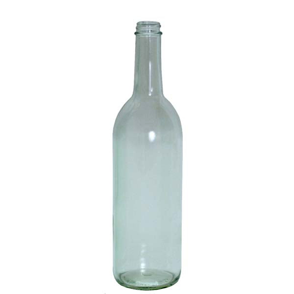 750ml Clear Glass Claret wine Bottle with a screw top