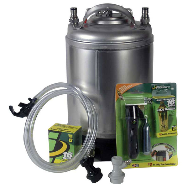 2.5 Gallon Mini Draft System displaying its soda keg, CO2 cartridge box, liquid and gas tubing and CO2 injection system