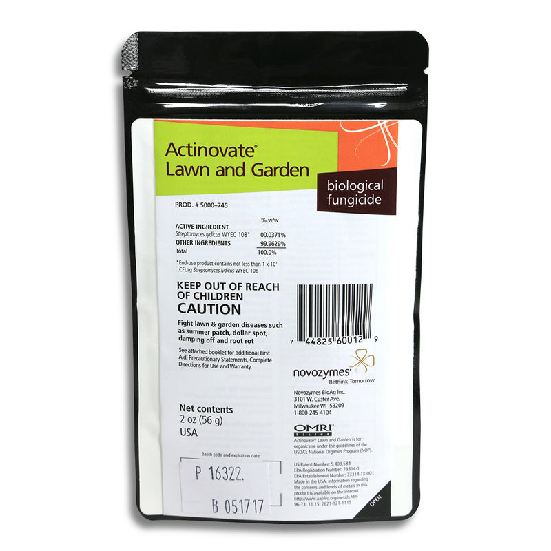 Two-ounce bag of Actinovate Lawn and Garden biological fungicide