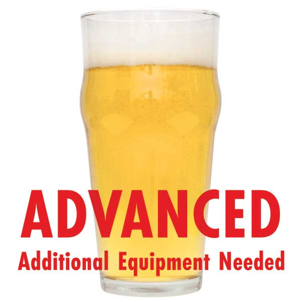 "Speckled Heifer homebrew in a glass with a customer caution in red text: ""Advanced, additional equipment needed"" to brew this recipe kit"