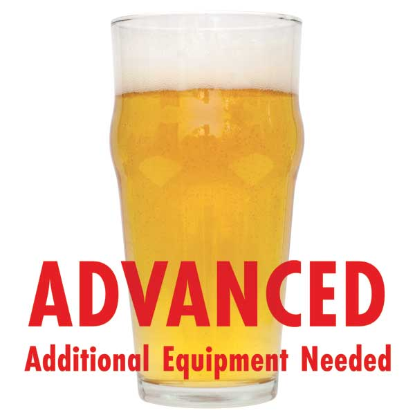 "Irish Blonde homebrew in a drinking glass with a customer caution in red text: ""Advanced, additional equipment needed"" to brew this recipe kit"
