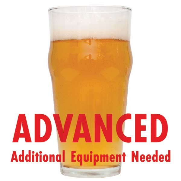 "Kama Citra Session IPA in a drinking glass with a customer caution in red text: ""Advanced, additional equipment needed"" to brew this recipe kit"